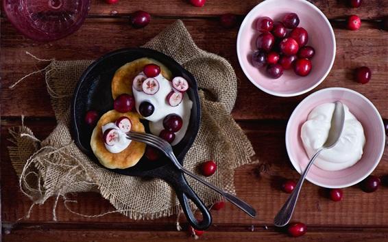 Wallpaper Pancake and red berries, cream, food