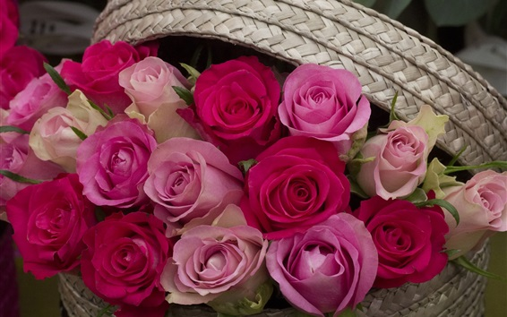 Wallpaper Pink and red roses, basket