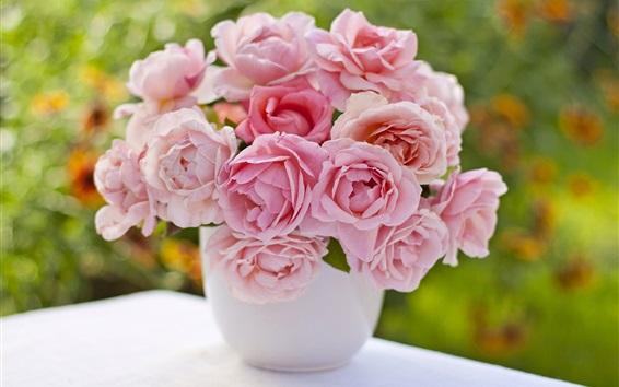 Wallpaper Pink roses, vase, bouquet