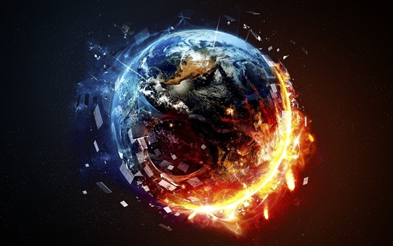 Wallpaper Planet destruction, fire, space