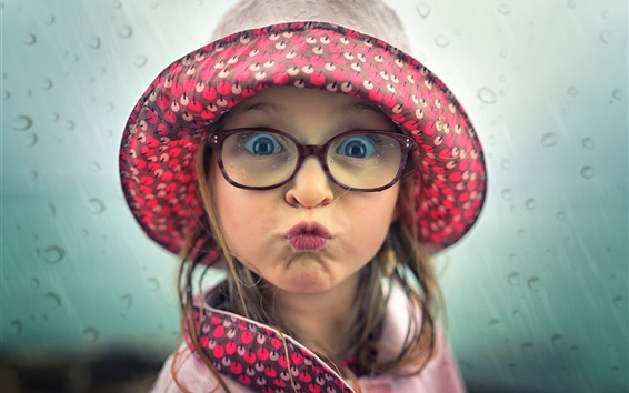 Wallpaper Playful child girl, face, hat, glasses