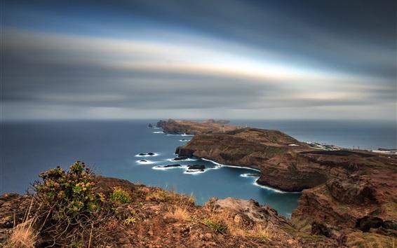 Wallpaper Portugal, Madeira, Islands, coast, sea, dusk