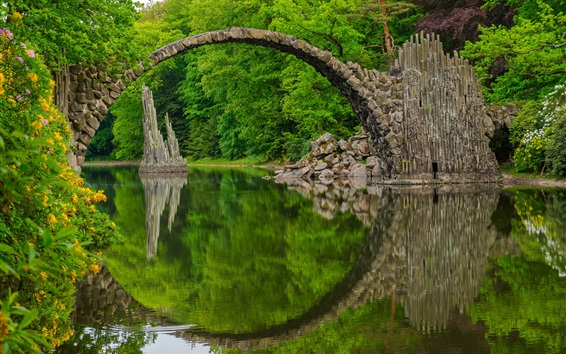 Wallpaper Rakotz Bridge, Devil's Bridge, Park, Saxony, Germany
