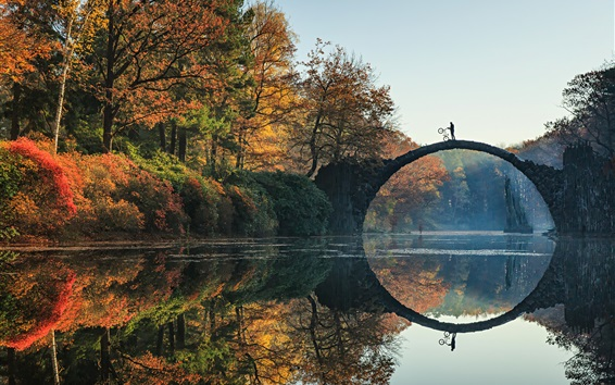 Wallpaper Rakotz, Germany, trees, autumn, river, bridge, water reflection