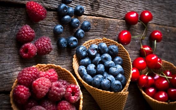 Wallpaper Raspberry, blueberry, cherry, fresh fruit