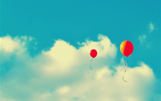 Wallpaper Red balloons flying in sky, clouds