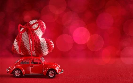 壁紙 赤い車、大きな愛の心、ボケ