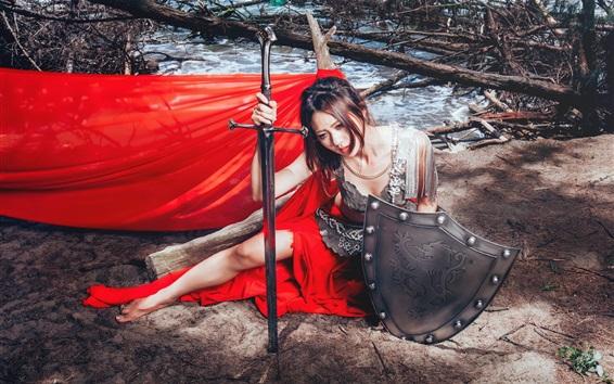 Wallpaper Red dress Asian girl, sword, shield