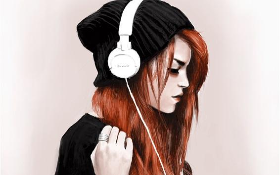 Wallpaper Red hair girl, headphones, listen music, art drawing