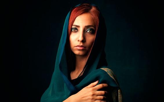 Обои Девушка с красными волосами, макияж, художественный портрет