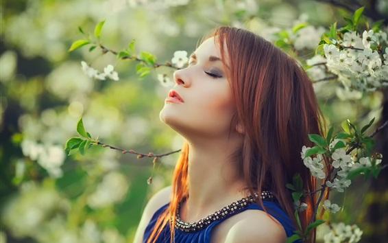 Wallpaper Red hair girl, white flowers, tree, spring