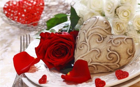 Wallpaper Red rose, love heart, romantic