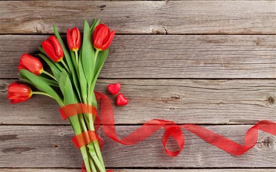 Wallpaper Red tulips, love hearts, wood board