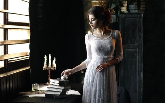 Wallpaper Retro style, white dress girl, table, books, candles