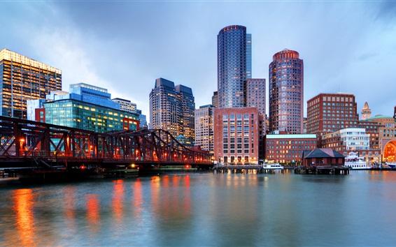 Wallpaper River, bridge, skyscrapers, dusk, lights, Boston, Massachusetts, USA