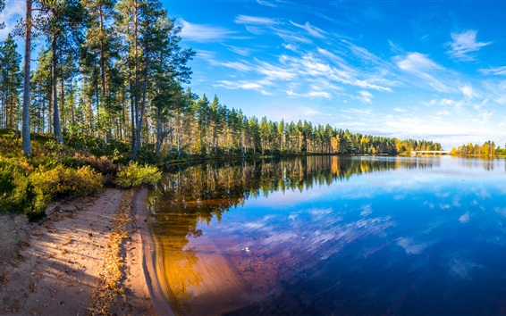 Fond d'écran Rivière, arbres, ciel bleu, nuages, réflexion d'eau