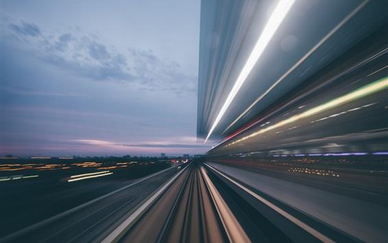 Papéis de Parede Estrada, alta velocidade, linhas, cidade