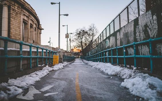 Wallpaper Road, snow, winter, fence, city