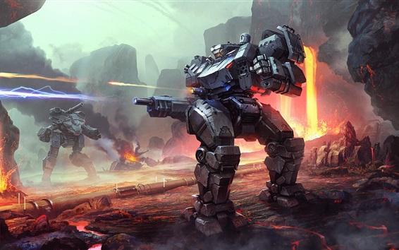 Обои Робот, война, лава, художественная фотография