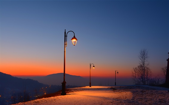 Wallpaper Romania, Brasov Fortress, dusk, snow, lights