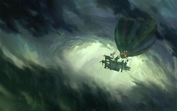 Wallpaper Romantically Apocalyptic, storm, balloon, clouds