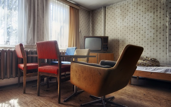 Wallpaper Room, chairs, furniture, window, TV