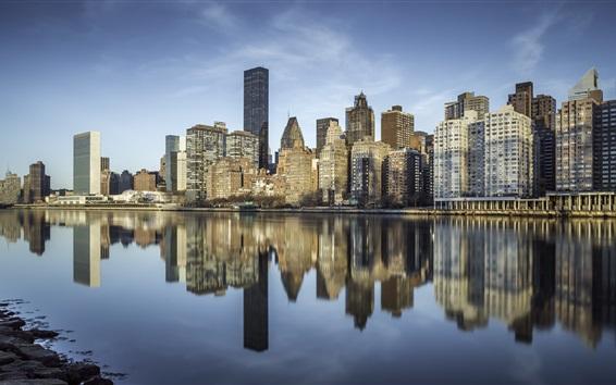 Обои Остров Рузвельт, Нью-Йорк, небоскребы, Ист-Ривер, США
