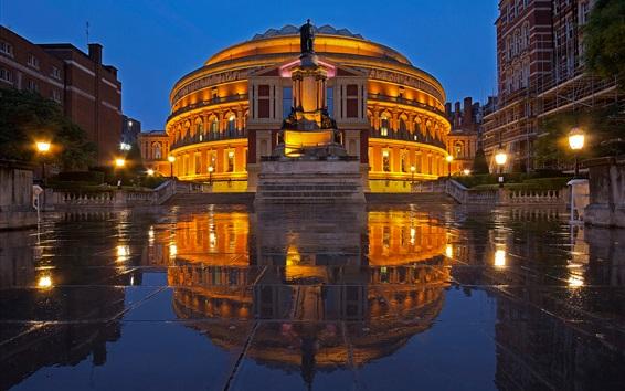 Papéis de Parede Royal Albert Hall, noite, edifícios, chão molhado, luzes, Inglaterra, Londres