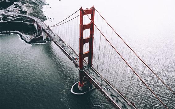 壁紙 サンフランシスコ、アメリカ、橋、車、海、上の眺め