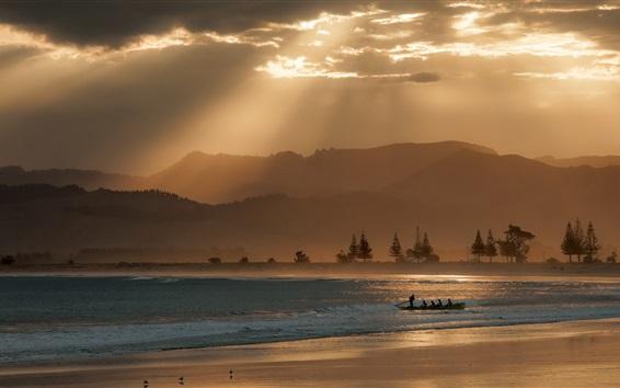 Wallpaper Sea, boat, dusk, clouds
