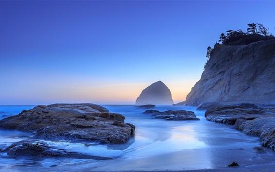 Fond d'écran Mer, côte, pierres, matin