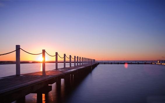 Wallpaper Sea, pier, sunset