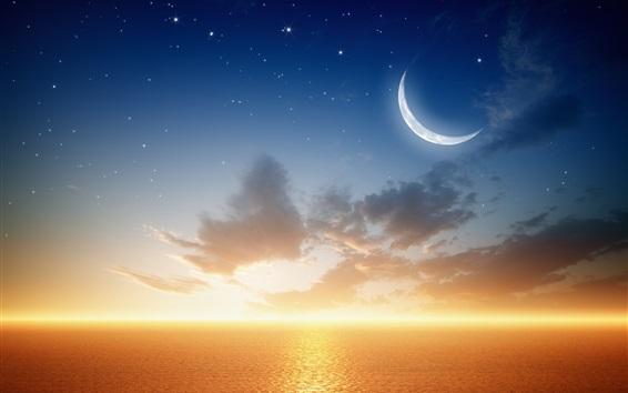 Wallpaper Sea, planet, moon, sunset