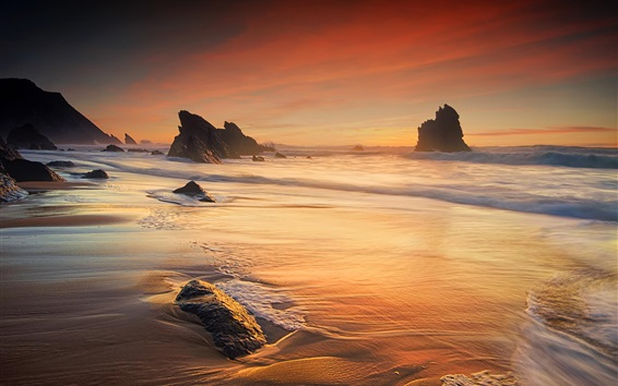 Обои Море, волны, побережье, океан, скалы, сумерки