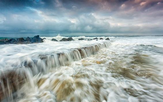 壁紙 海、波、嵐