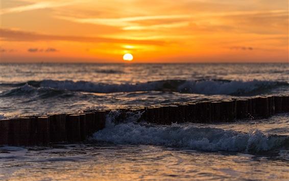 Wallpaper Sea, waves, water splash, sunset