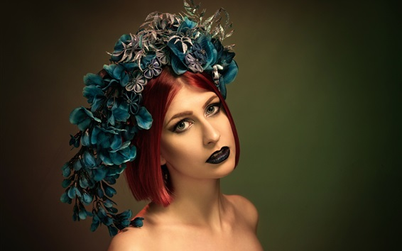 배경 화면 짧은 빨간 머리 소녀 초상화, 화환, 메이크업