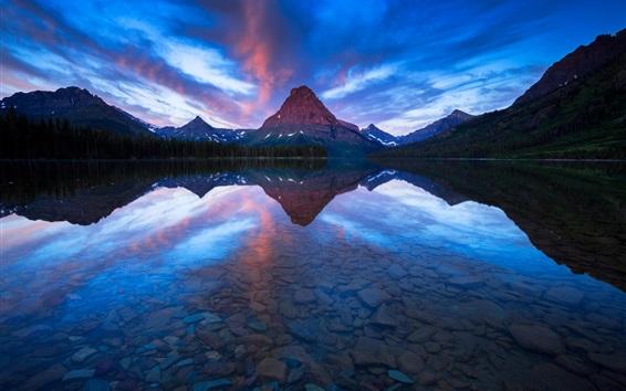 Fondos de pantalla Sinopah Mountain, Dos Medicine Lake, la reflexión del agua, Parque Nacional Glacier, EE.UU.