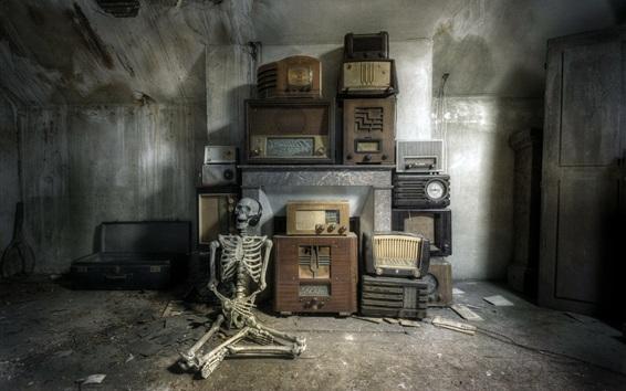Wallpaper Skull listen radio, ruins, room, dirt