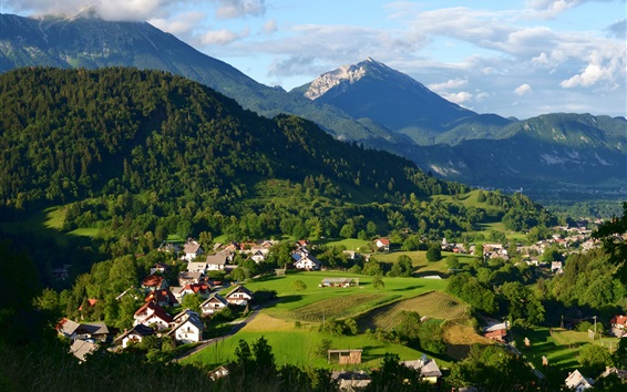 Wallpaper Slovenia, houses, mountains, trees