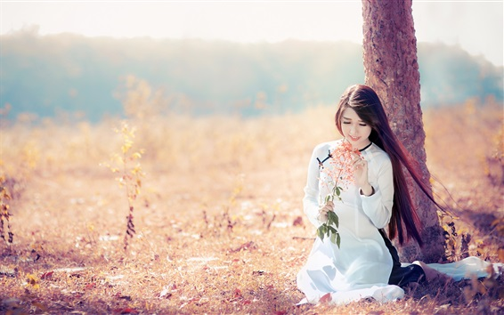 Wallpaper Smile Asian girl, long hair, white dress, under a tree