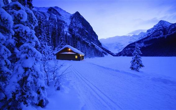 Wallpaper Snow, hut, lights, mountains, trees, evening