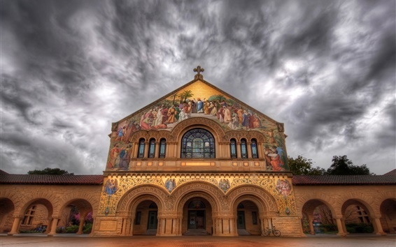 Wallpaper Stanford Church, painting, mural, street, clouds