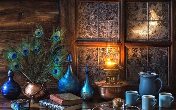 Wallpaper Still life, lamp, window, cups, bottles, books