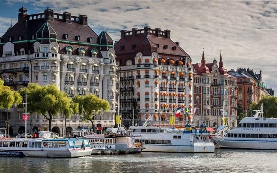 Wallpaper Stockholm, Sweden, pier, boats, city, buildings, river
