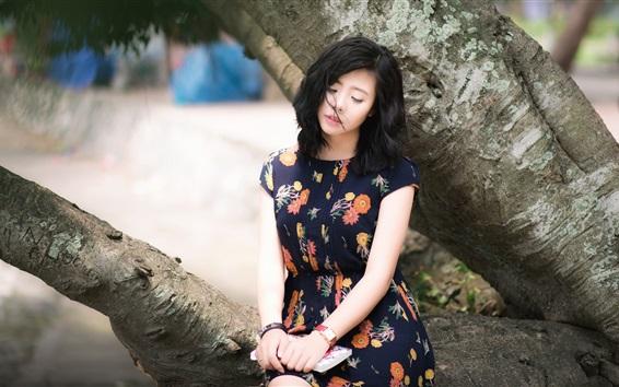 Fond d'écran Été Fille asiatique, tristesse