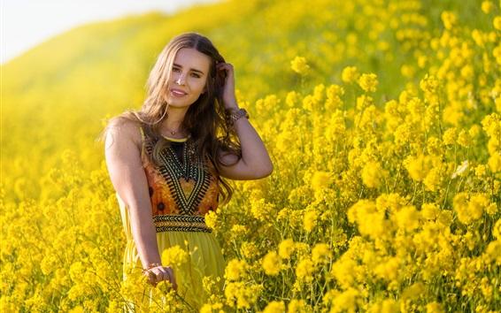 Wallpaper Summer girl, fields, yellow flowers