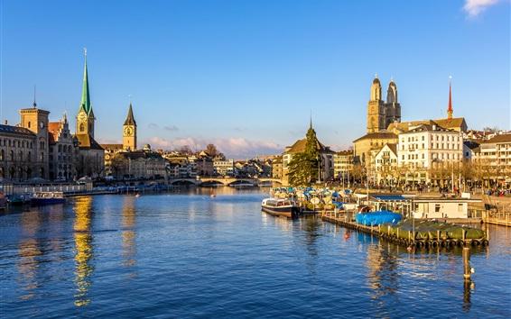 Обои Швейцария, Цюрих, причалы, мост, река, дома