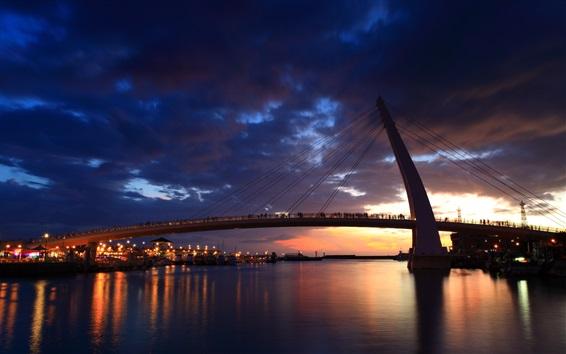 Wallpaper Taipei, city, night, bridge, river, lights