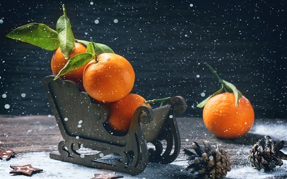 Wallpaper Tangerines, oranges, sleigh, fruit